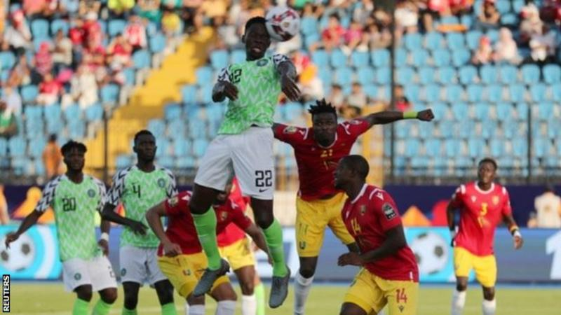 Nigeria became the first team to qualify for the last 16 of the Africa Cup of Nations as they beat Guinea 1-0.